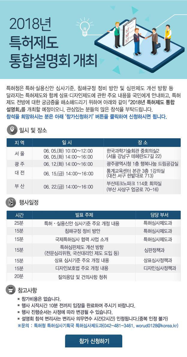 2018년 특허제도 통합설명회 개최