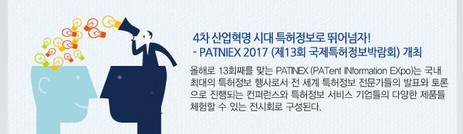 PATINEX 2017 특허정보로 뛰어넘자