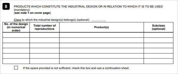 8. PRODUCTS WHICH CONSTITUE THE INDUSTRIAL DESIGN OR IN RELATION TO WHICH IT IS TO BE USED    (Mandaory)    (see note 1 on cover page)    Class to which the industrial design(s)belong(s)(optional):     No.of the design(in numerical order)    Total number of reproductions     Product(s)     Subclass (optional)